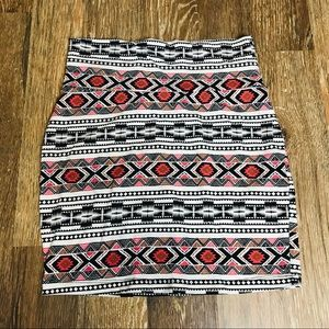 Charlotte Russe Aztec patterned bodycon skirt